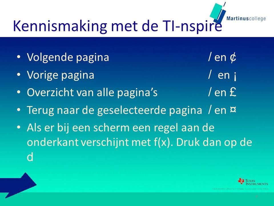 Kennismaking met de TI-nspire Volgende pagina / en ¢ Vorige pagina / en ¡ Overzicht van alle pagina's / en £ Terug naar de geselecteerde pagina / en ¤ Als er bij een scherm een regel aan de onderkant verschijnt met f(x).