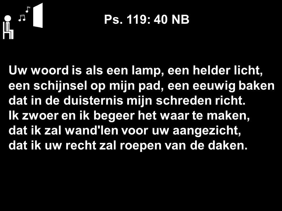 Ps. 119: 40 NB Uw woord is als een lamp, een helder licht, een schijnsel op mijn pad, een eeuwig baken dat in de duisternis mijn schreden richt. Ik zw