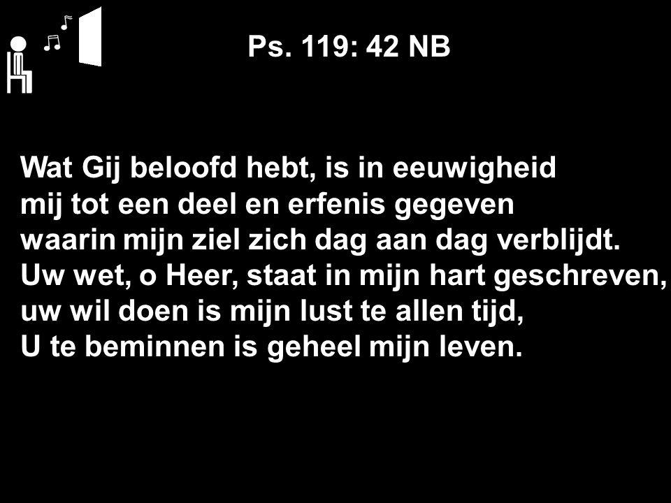 Ps. 119: 42 NB Wat Gij beloofd hebt, is in eeuwigheid mij tot een deel en erfenis gegeven waarin mijn ziel zich dag aan dag verblijdt. Uw wet, o Heer,