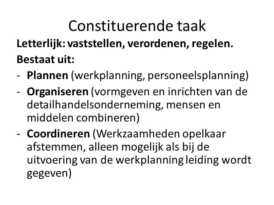 Constituerende taak Letterlijk: vaststellen, verordenen, regelen.