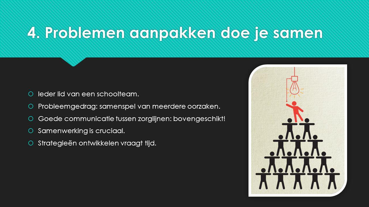 4. Problemen aanpakken doe je samen  Ieder lid van een schoolteam.