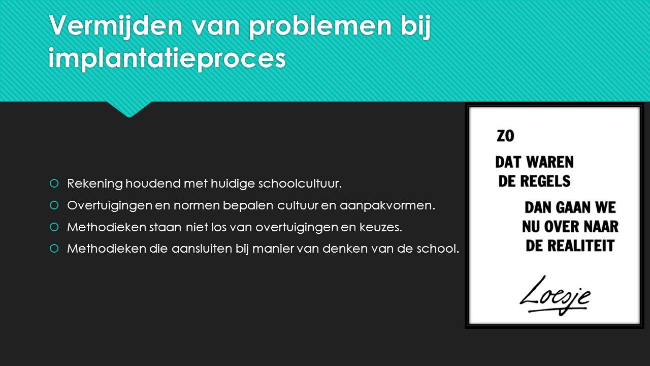 Vermijden van problemen bij implantatieproces  Rekening houdend met huidige schoolcultuur.