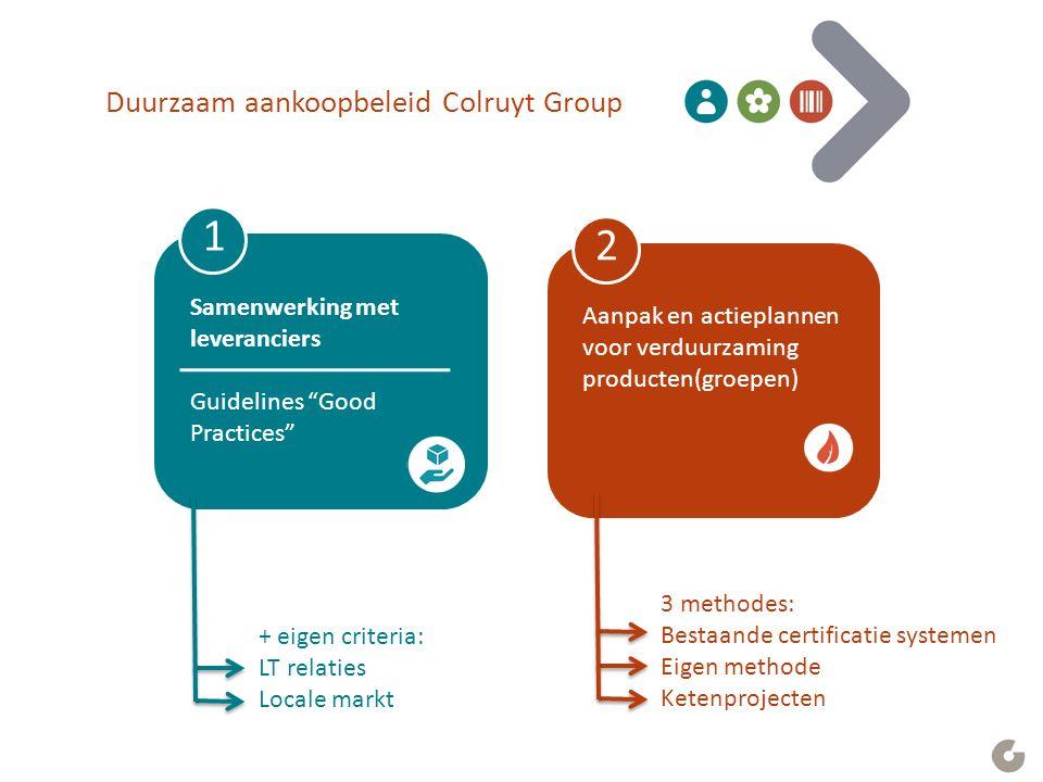 1 Samenwerking met leveranciers Guidelines Good Practices 2 Aanpak en actieplannen voor verduurzaming producten(groepen) Duurzaam aankoopbeleid Colruyt Group 3 methodes: Bestaande certificatie systemen Eigen methode Ketenprojecten + eigen criteria: LT relaties Locale markt