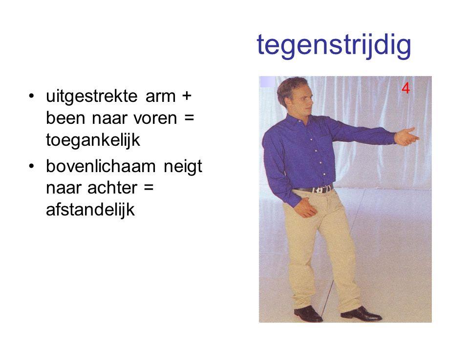 tegenstrijdig uitgestrekte arm + been naar voren = toegankelijk bovenlichaam neigt naar achter = afstandelijk 4