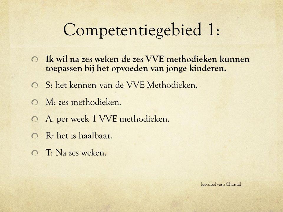 Competentiegebied 1: Ik wil na zes weken de zes VVE methodieken kunnen toepassen bij het opvoeden van jonge kinderen.