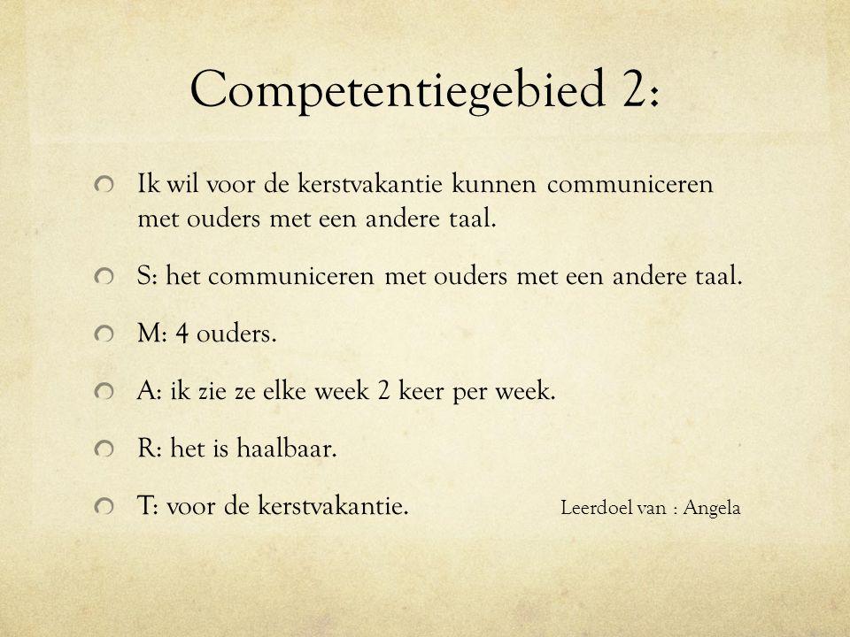 Competentiegebied 2: Ik wil voor de kerstvakantie kunnen communiceren met ouders met een andere taal.