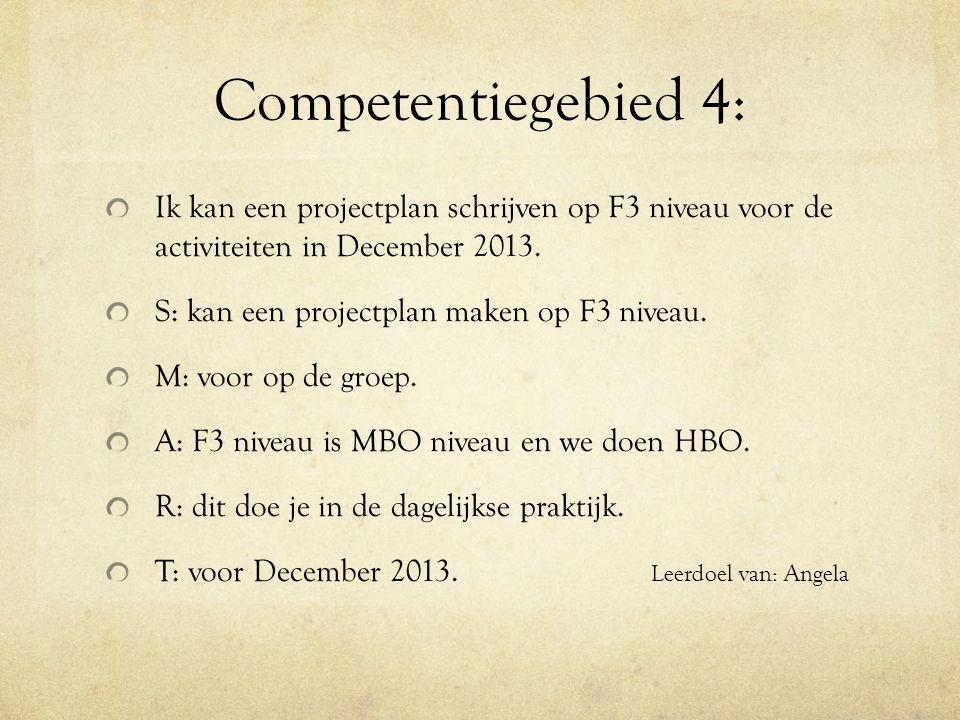 Competentiegebied 4: Ik kan een projectplan schrijven op F3 niveau voor de activiteiten in December 2013.