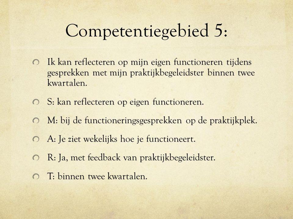 Competentiegebied 5: Ik kan reflecteren op mijn eigen functioneren tijdens gesprekken met mijn praktijkbegeleidster binnen twee kwartalen.