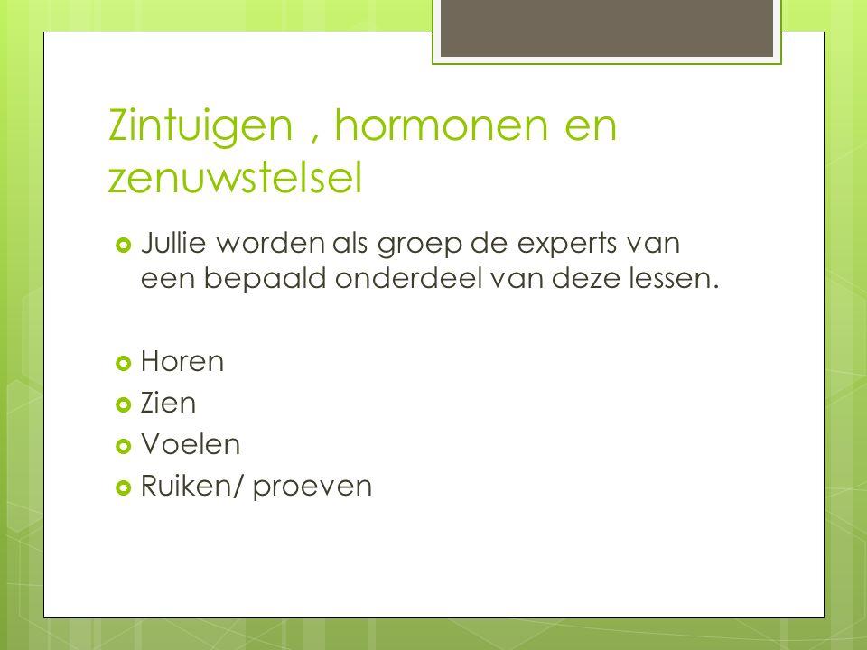 Zintuigen, hormonen en zenuwstelsel  Jullie worden als groep de experts van een bepaald onderdeel van deze lessen.