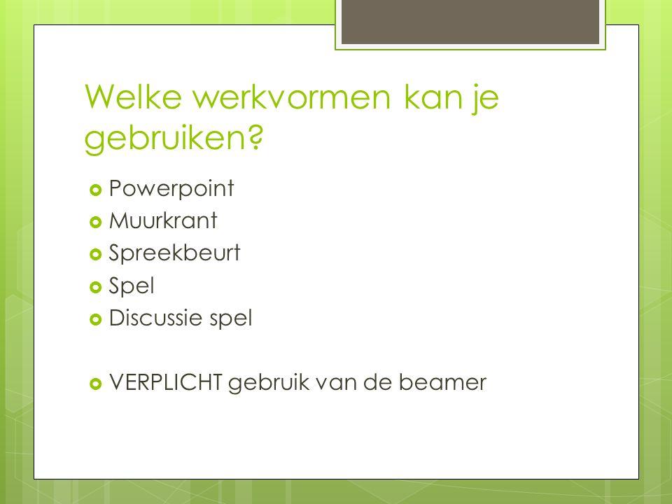 Welke werkvormen kan je gebruiken?  Powerpoint  Muurkrant  Spreekbeurt  Spel  Discussie spel  VERPLICHT gebruik van de beamer