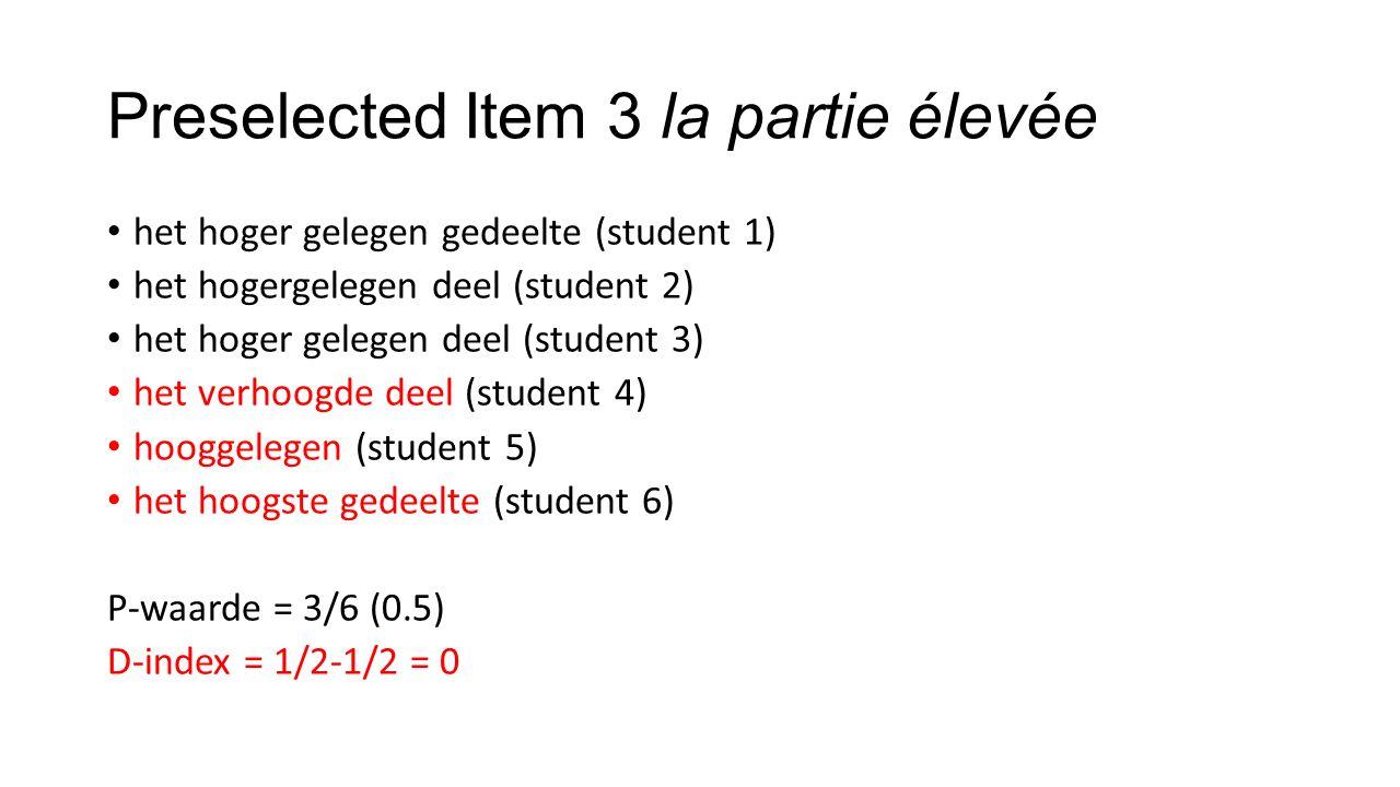 Preselected Item 3 la partie élevée het hoger gelegen gedeelte (student 1) het hogergelegen deel (student 2) het hoger gelegen deel (student 3) het verhoogde deel (student 4) hooggelegen (student 5) het hoogste gedeelte (student 6) P-waarde = 3/6 (0.5) D-index = 1/2-1/2 = 0