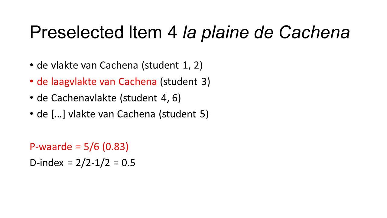 Preselected Item 4 la plaine de Cachena de vlakte van Cachena (student 1, 2) de laagvlakte van Cachena (student 3) de Cachenavlakte (student 4, 6) de […] vlakte van Cachena (student 5) P-waarde = 5/6 (0.83) D-index = 2/2-1/2 = 0.5