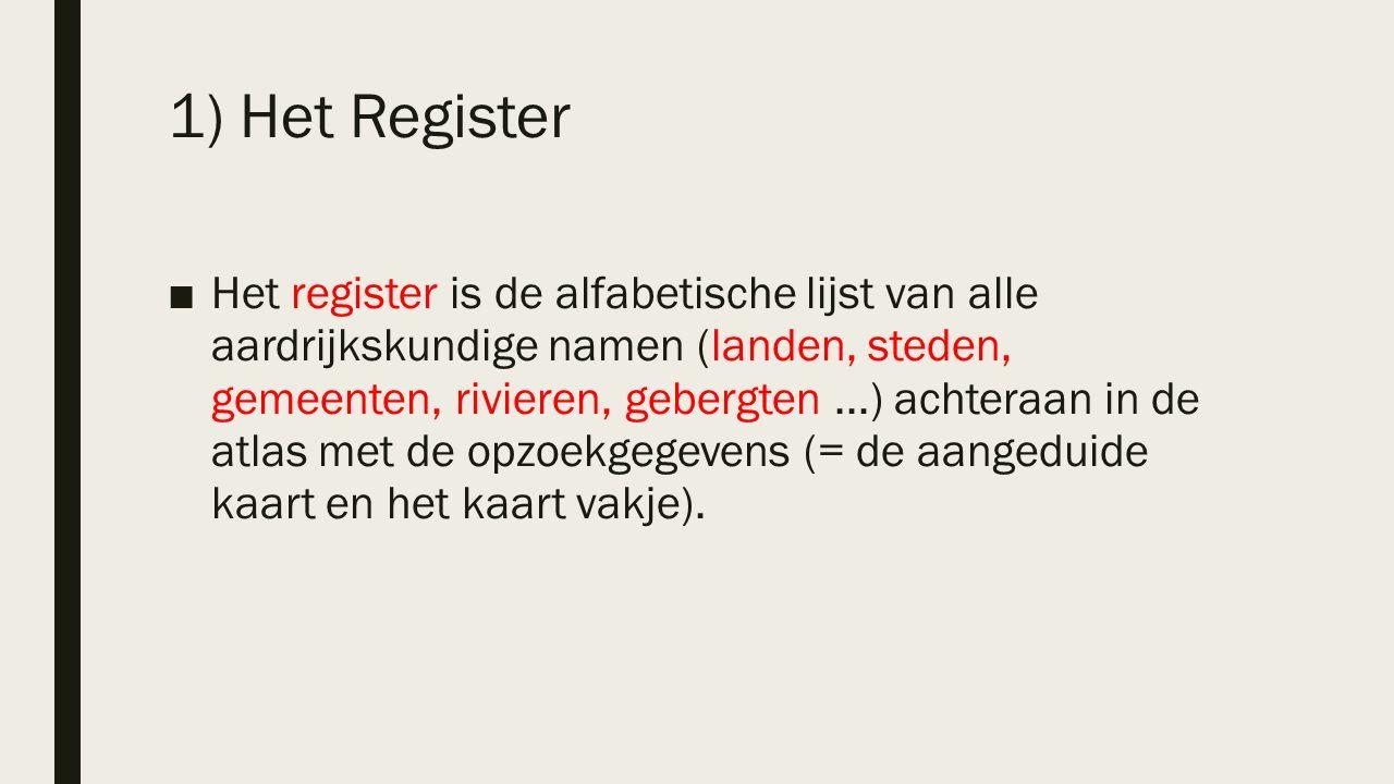 ■Het register is de alfabetische lijst van alle aardrijkskundige namen (landen, steden, gemeenten, rivieren, gebergten...) achteraan in de atlas met de opzoekgegevens (= de aangeduide kaart en het kaart vakje).