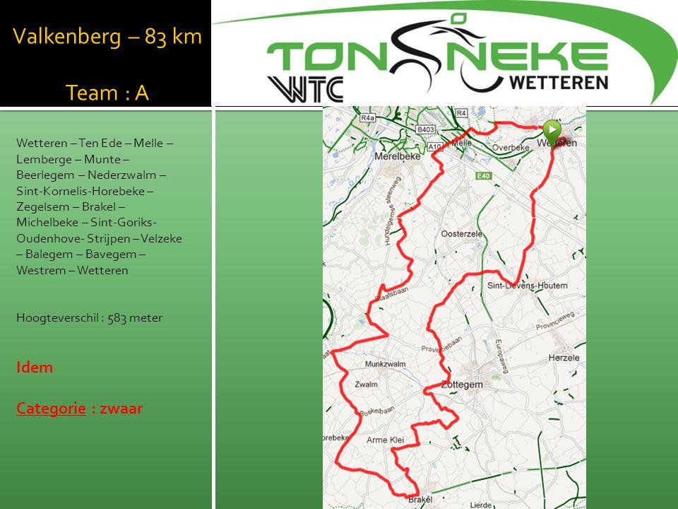Valkenberg – 83 km Team : A Wetteren – Ten Ede – Melle – Lemberge – Munte – Beerlegem – Nederzwalm – Sint-Kornelis-Horebeke – Zegelsem – Brakel – Michelbeke – Sint-Goriks- Oudenhove- Strijpen – Velzeke – Balegem – Bavegem – Westrem – Wetteren Hoogteverschil : 583 meter Idem Categorie : zwaar WTC Wetthra