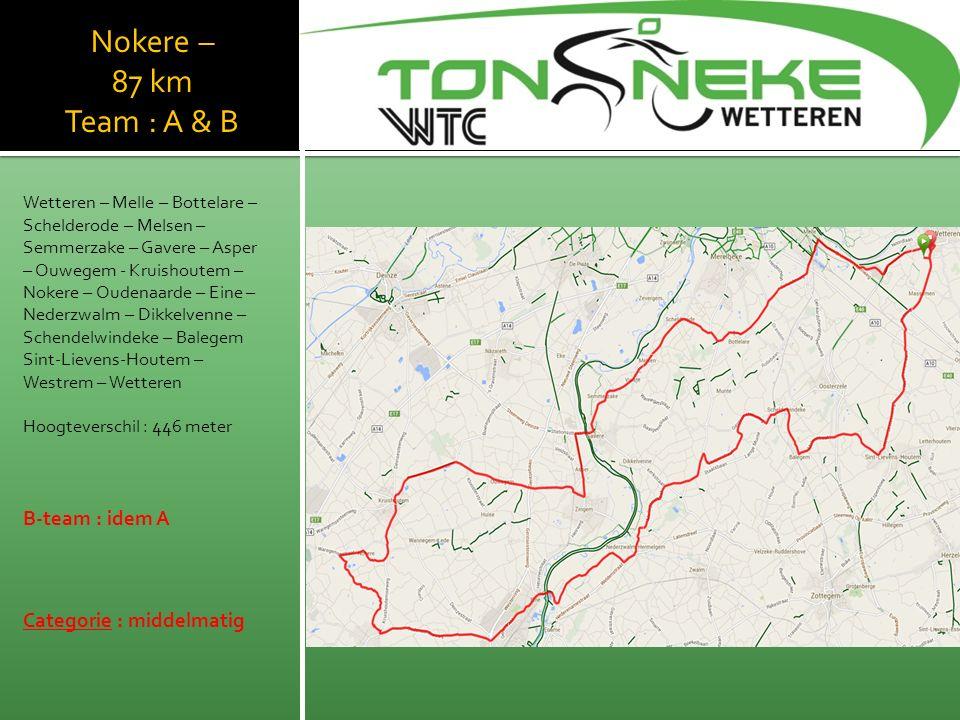 Nokere – 87 km Team : A & B Wetteren – Melle – Bottelare – Schelderode – Melsen – Semmerzake – Gavere – Asper – Ouwegem - Kruishoutem – Nokere – Oudenaarde – Eine – Nederzwalm – Dikkelvenne – Schendelwindeke – Balegem Sint-Lievens-Houtem – Westrem – Wetteren Hoogteverschil : 446 meter B-team : idem A Categorie : middelmatig WTC Wetthra