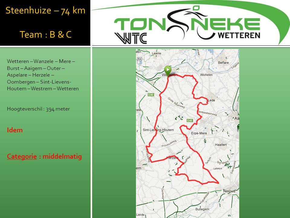 Steenhuize – 74 km Team : B & C Wetteren – Wanzele – Mere – Burst – Aaigem – Outer – Aspelare – Herzele – Oombergen – Sint-Lievens- Houtem – Westrem – Wetteren Hoogteverschil : 394 meter Idem Categorie : middelmatig WTC Wetthra