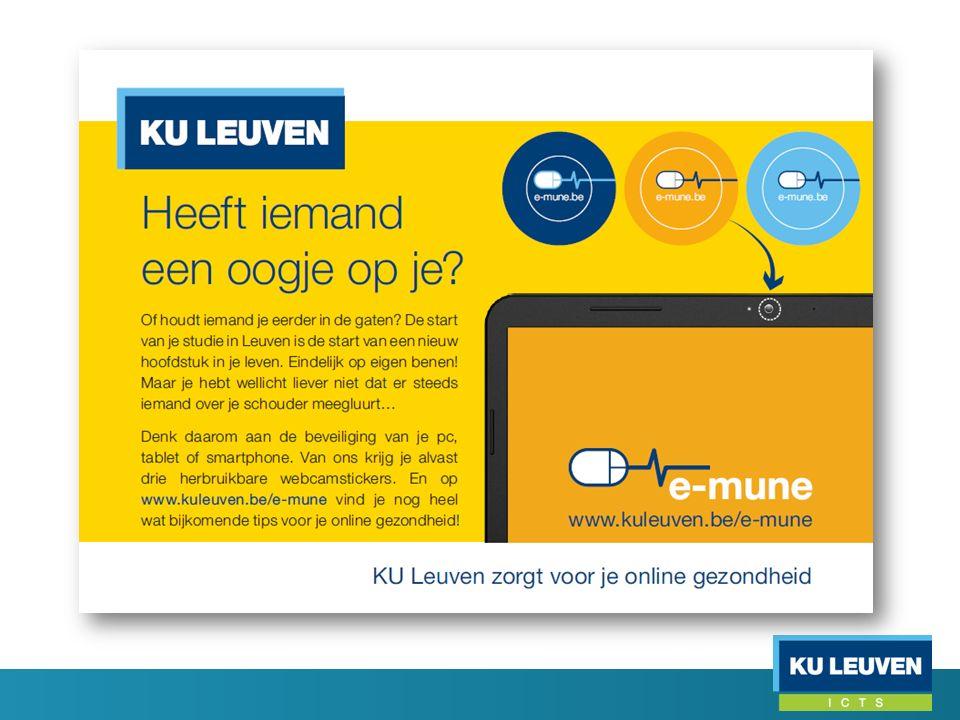 e-mune Gelanceerd in september 2014 e-mune website webcamstickers affichecampagne infosessies voor IT-beheerders sensibilisering voor eindgebruikers e-mune flash bij acute beveiligingsproblemen quiz voor eindgebruikers …