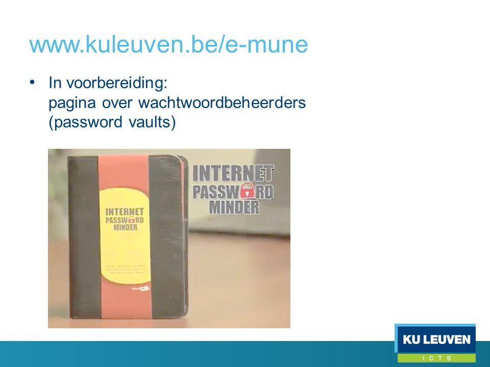 In voorbereiding: pagina over wachtwoordbeheerders (password vaults)