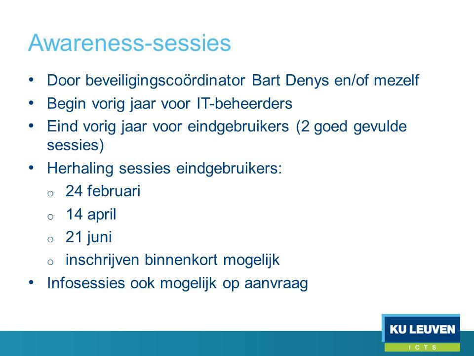 Door beveiligingscoördinator Bart Denys en/of mezelf Begin vorig jaar voor IT-beheerders Eind vorig jaar voor eindgebruikers (2 goed gevulde sessies)