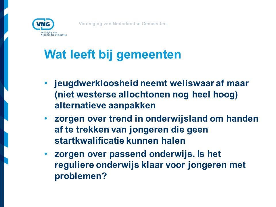 Vereniging van Nederlandse Gemeenten Wat leeft bij gemeenten jeugdwerkloosheid neemt weliswaar af maar (niet westerse allochtonen nog heel hoog) alter