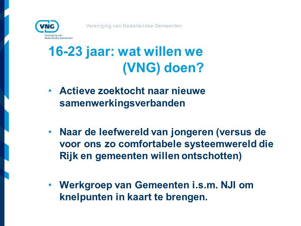 Vereniging van Nederlandse Gemeenten 16-23 jaar: wat willen we (VNG) doen.