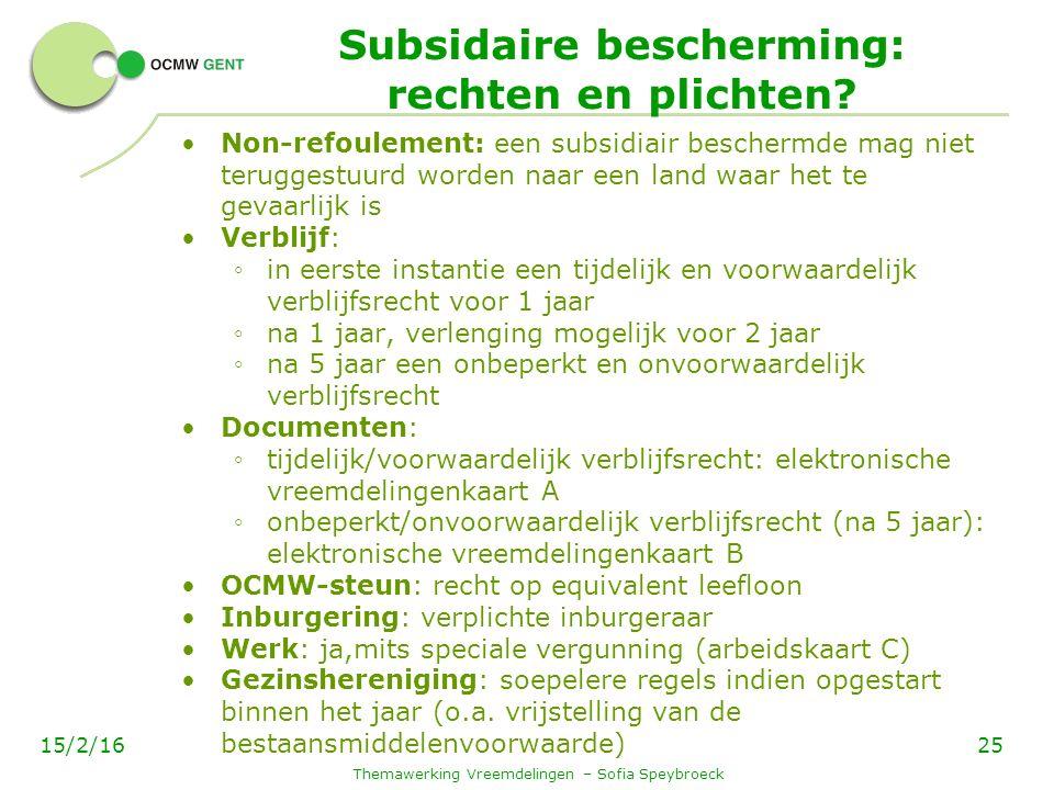 Subsidaire bescherming: rechten en plichten.