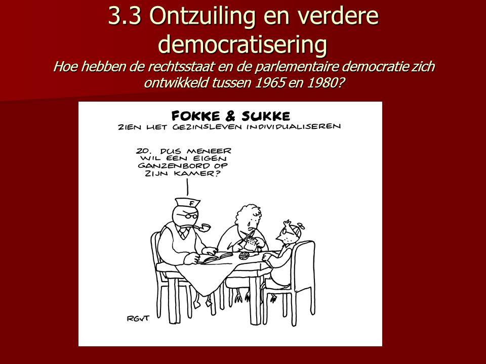 3.3 Ontzuiling en verdere democratisering Hoe hebben de rechtsstaat en de parlementaire democratie zich ontwikkeld tussen 1965 en 1980