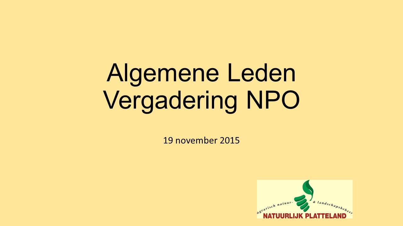 Algemene Leden Vergadering NPO 19 november 2015