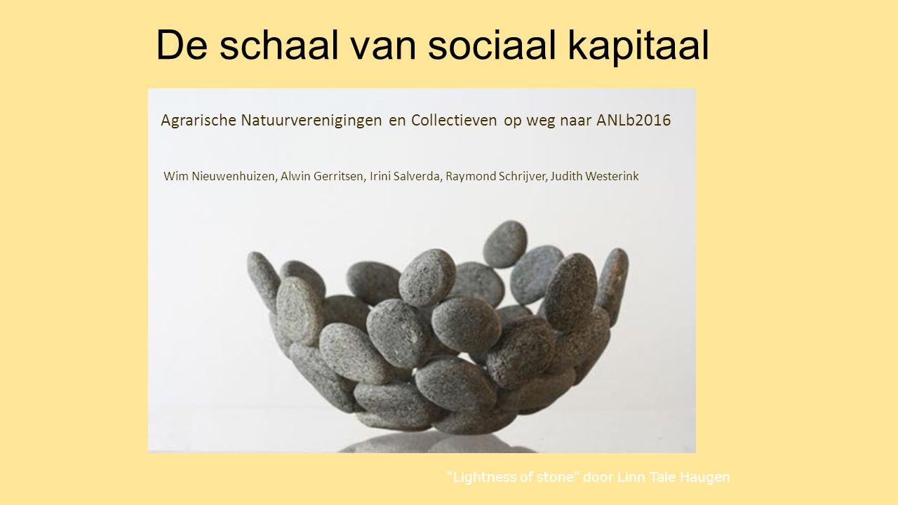 De schaal van sociaal kapitaal Agrarische Natuurverenigingen en Collectieven op weg naar ANLb2016 Wim Nieuwenhuizen, Alwin Gerritsen, Irini Salverda,