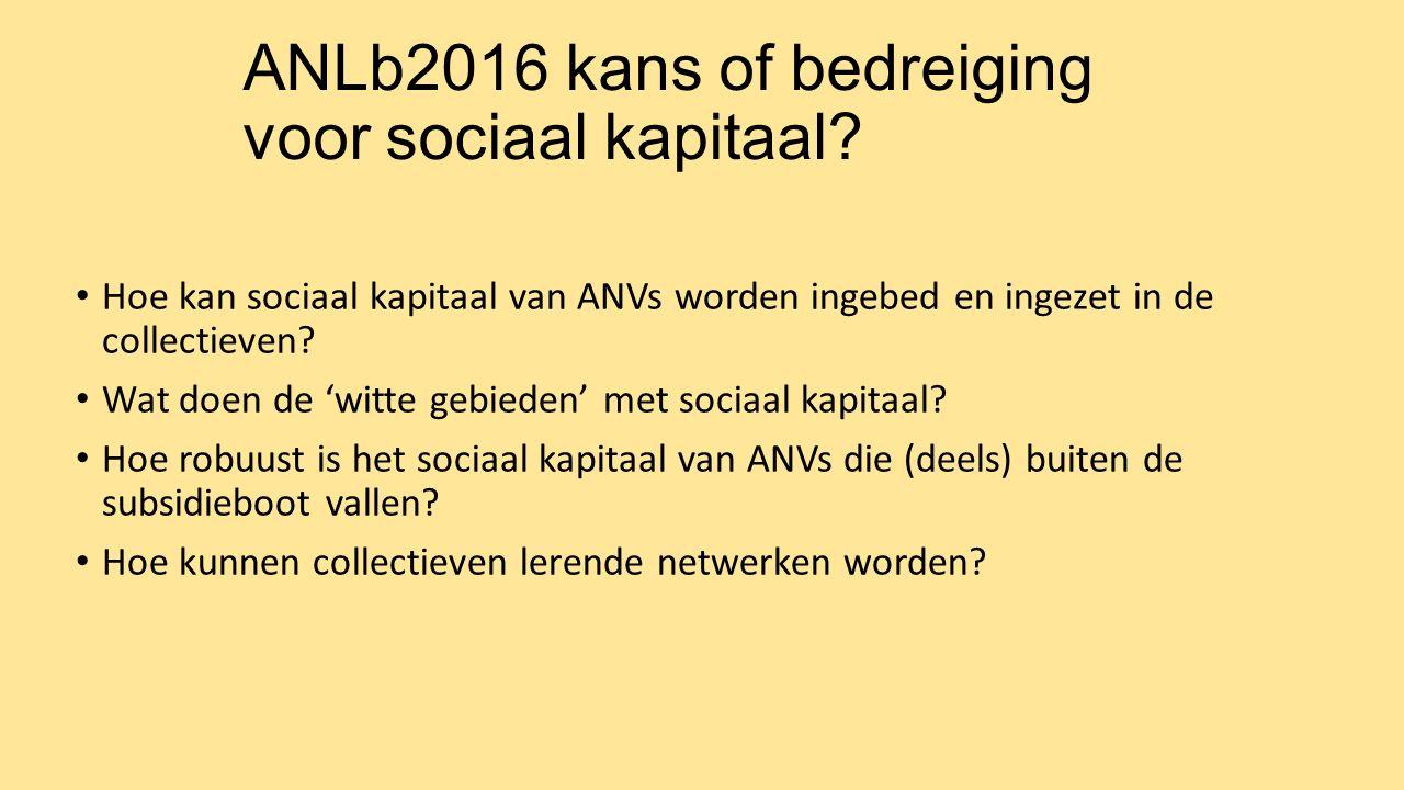 ANLb2016 kans of bedreiging voor sociaal kapitaal? Hoe kan sociaal kapitaal van ANVs worden ingebed en ingezet in de collectieven? Wat doen de 'witte
