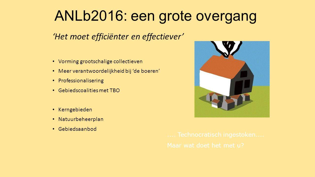 ANLb2016: een grote overgang 'Het moet efficiënter en effectiever' Vorming grootschalige collectieven Meer verantwoordelijkheid bij 'de boeren' Profes