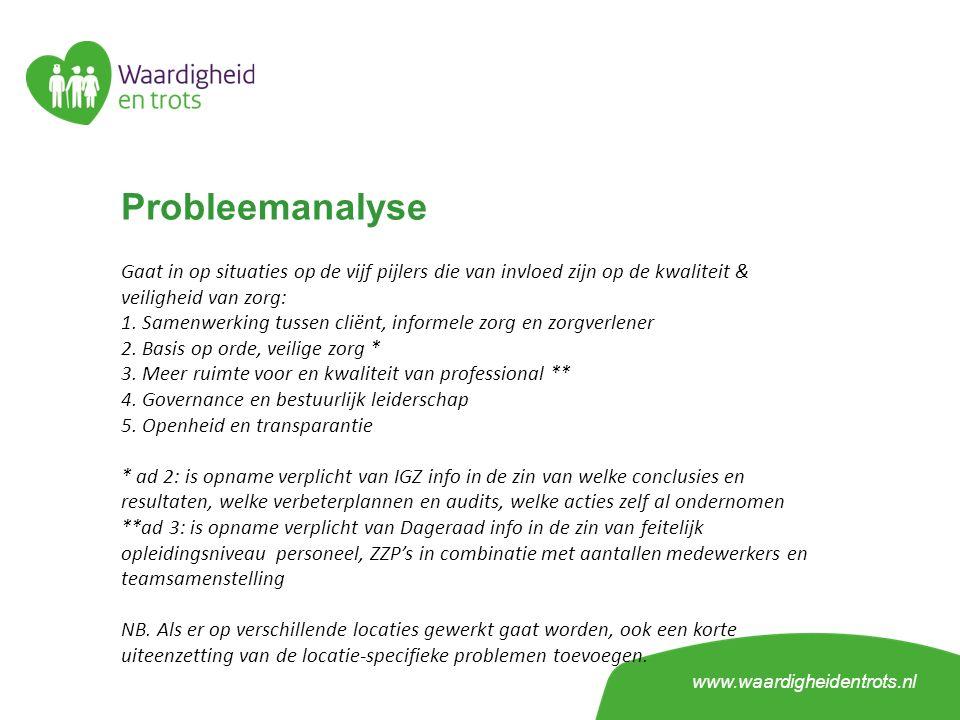 Probleemanalyse Gaat in op situaties op de vijf pijlers die van invloed zijn op de kwaliteit & veiligheid van zorg: 1. Samenwerking tussen cliënt, inf