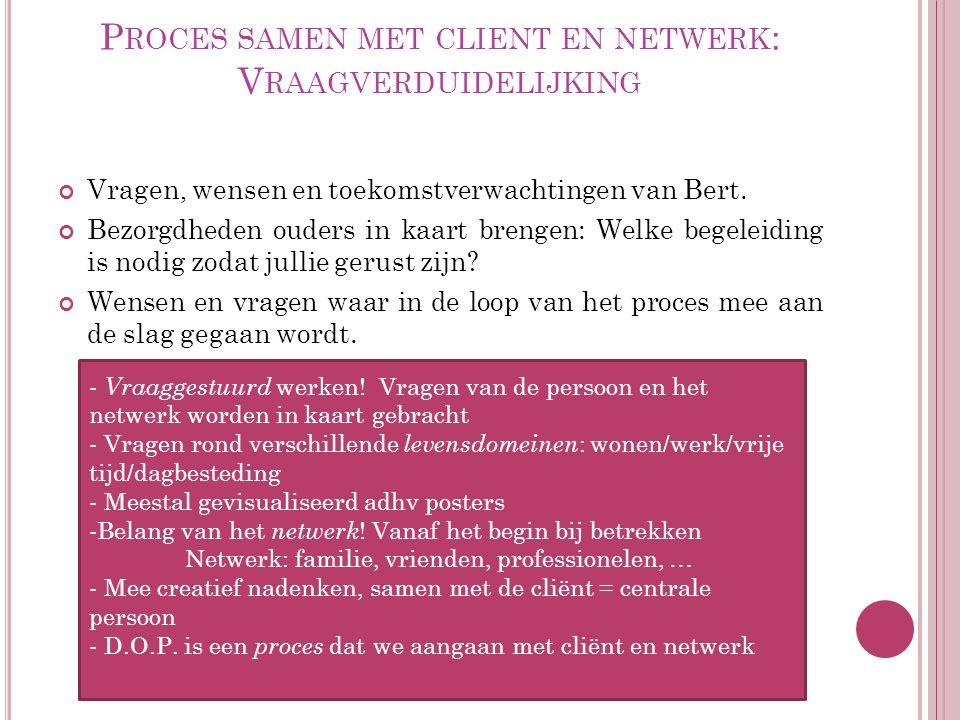 P ROCES SAMEN MET CLIENT EN NETWERK : V RAAGVERDUIDELIJKING Vragen, wensen en toekomstverwachtingen van Bert.