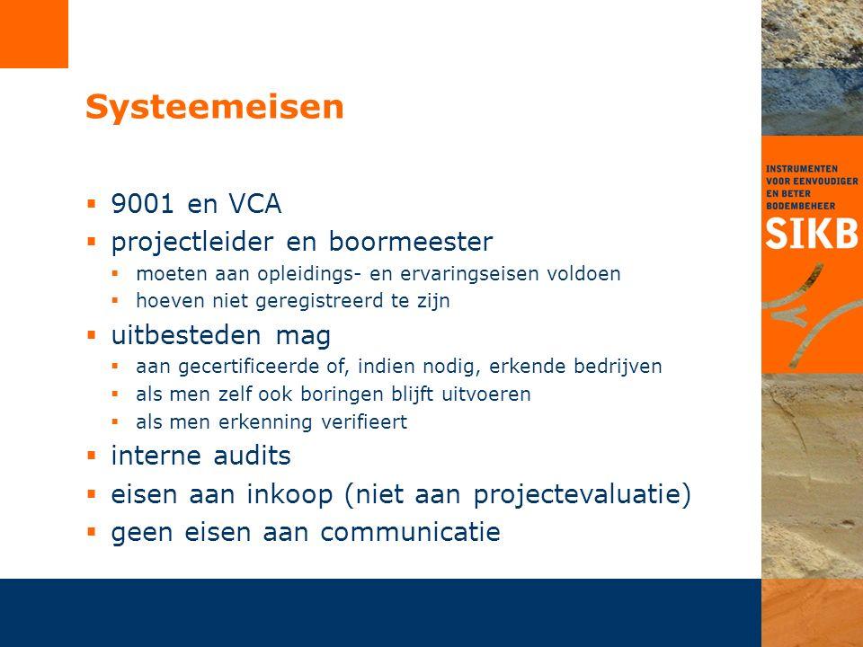 Systeemeisen  9001 en VCA  projectleider en boormeester  moeten aan opleidings- en ervaringseisen voldoen  hoeven niet geregistreerd te zijn  uit