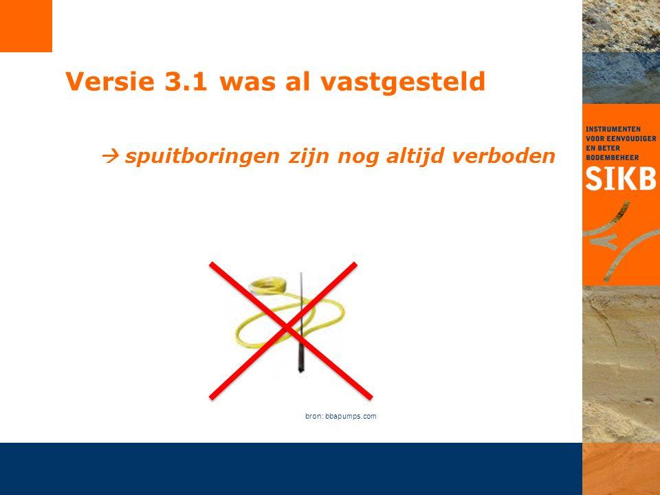 Versie 3.1 was al vastgesteld  spuitboringen zijn nog altijd verboden bron: bbapumps.com