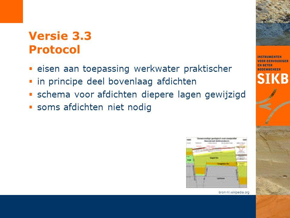 Versie 3.3 Protocol  eisen aan toepassing werkwater praktischer  in principe deel bovenlaag afdichten  schema voor afdichten diepere lagen gewijzigd  soms afdichten niet nodig bron nl.wikipedia.org