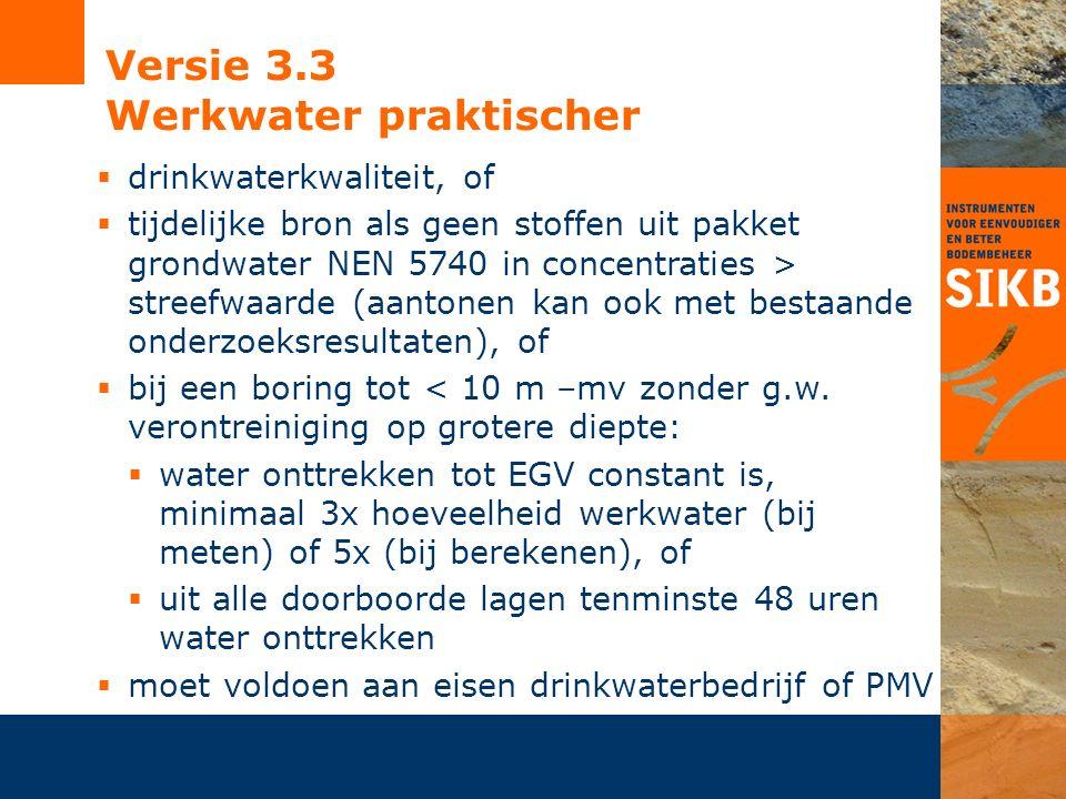 Versie 3.3 Werkwater praktischer  drinkwaterkwaliteit, of  tijdelijke bron als geen stoffen uit pakket grondwater NEN 5740 in concentraties > streefwaarde (aantonen kan ook met bestaande onderzoeksresultaten), of  bij een boring tot < 10 m –mv zonder g.w.