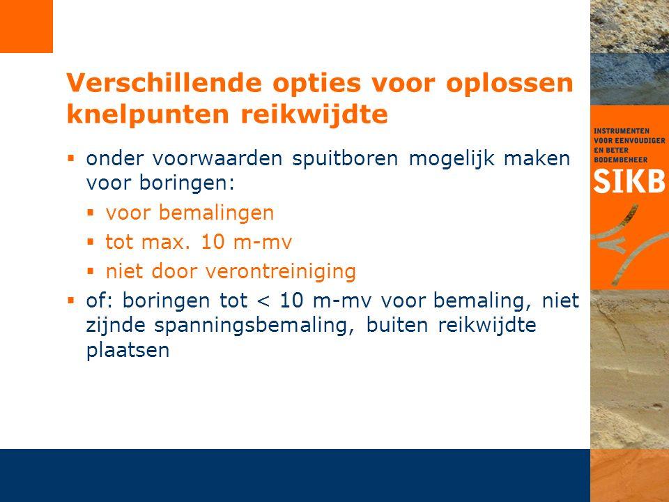 Verschillende opties voor oplossen knelpunten reikwijdte  onder voorwaarden spuitboren mogelijk maken voor boringen:  voor bemalingen  tot max. 10