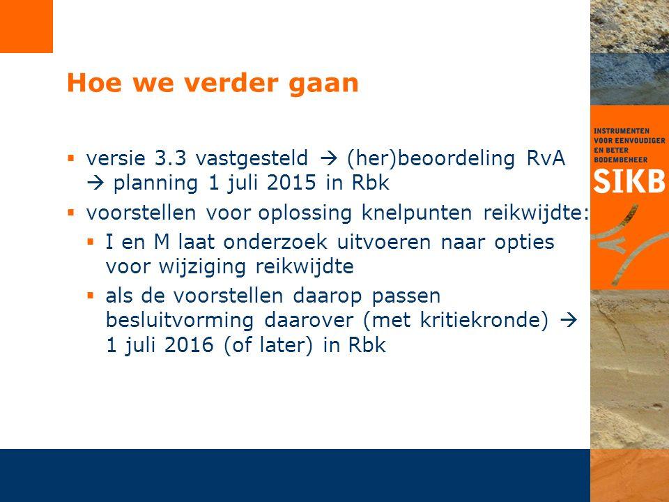 Hoe we verder gaan  versie 3.3 vastgesteld  (her)beoordeling RvA  planning 1 juli 2015 in Rbk  voorstellen voor oplossing knelpunten reikwijdte: 