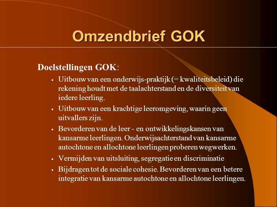 Het decreet GOK  Recht op inschrijving  De werking van de lokale overlegplatforms De commissie inzake leerlingenrechten  Geïntegreerd ondersteuningsaanbod