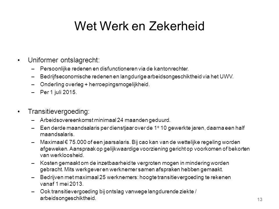 Wet Werk en Zekerheid 13 Uniformer ontslagrecht: –Persoonlijke redenen en disfunctioneren via de kantonrechter.