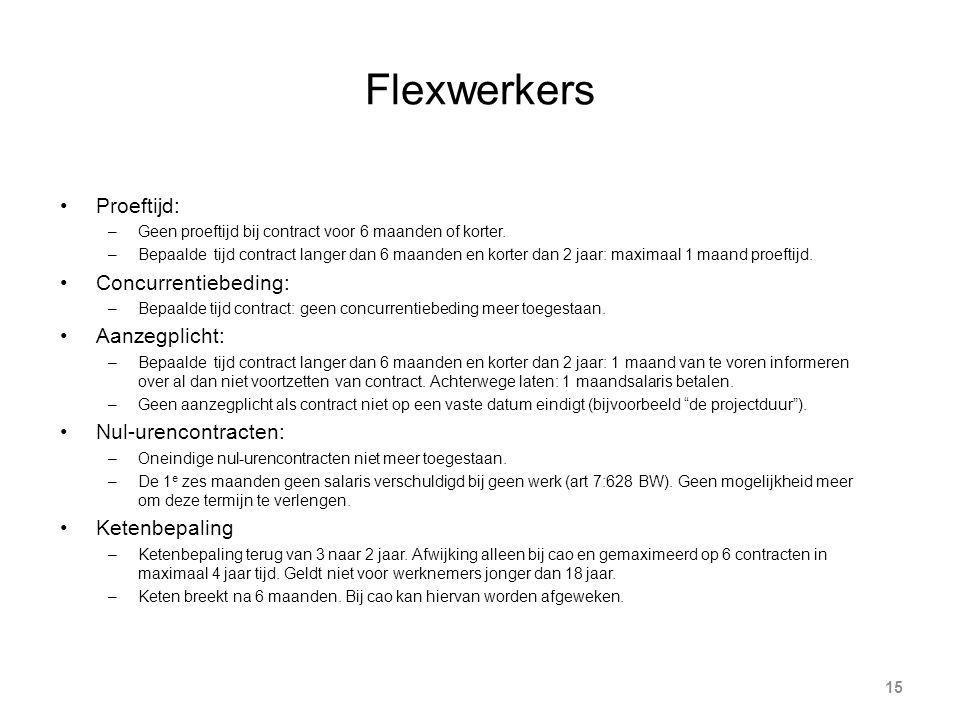 Flexwerkers 15 Proeftijd: –Geen proeftijd bij contract voor 6 maanden of korter.