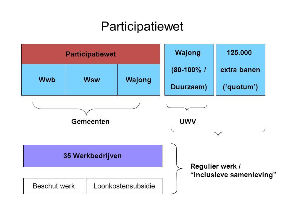 Participatiewet 17 WwbWsw Wajong (80-100% / Duurzaam) Gemeenten UWV Wajong Participatiewet 125.000 extra banen ('quotum') 35 Werkbedrijven Beschut werkLoonkostensubsidie Regulier werk / inclusieve samenleving