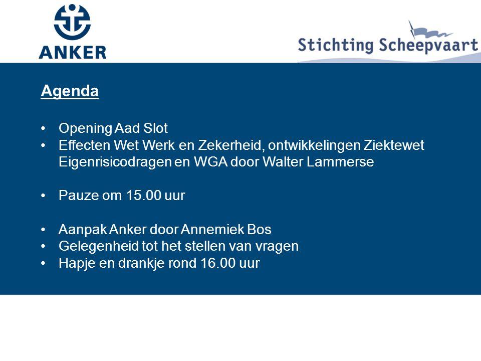 Agenda Agenda Opening Aad Slot Effecten Wet Werk en Zekerheid, ontwikkelingen Ziektewet Eigenrisicodragen en WGA door Walter Lammerse Pauze om 15.00 uur Aanpak Anker door Annemiek Bos Gelegenheid tot het stellen van vragen Hapje en drankje rond 16.00 uur