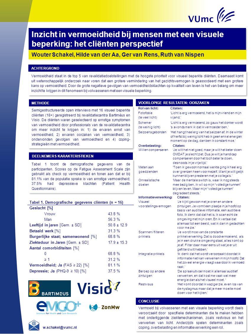 Vermoeidheid staat in de top 5 van revalidatiedoelstellingen met de hoogste prioriteit voor visueel beperkte cliënten. Daarnaast komt uit wetenschappe