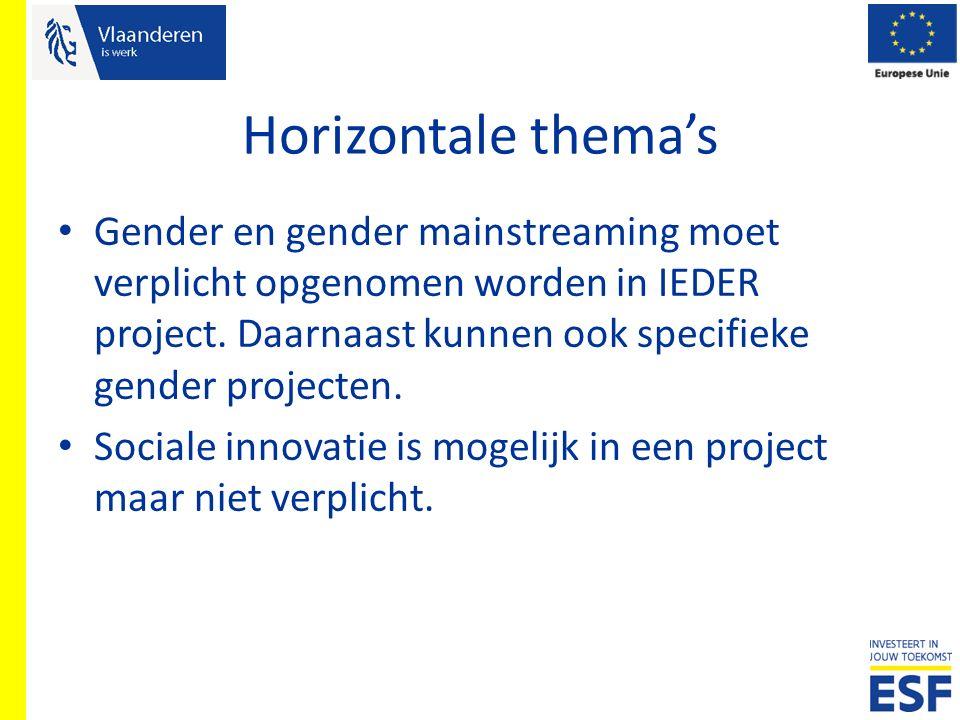 Horizontale thema's Gender en gender mainstreaming moet verplicht opgenomen worden in IEDER project. Daarnaast kunnen ook specifieke gender projecten.