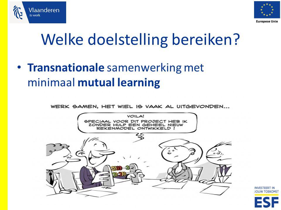 Welke doelstelling bereiken? Transnationale samenwerking met minimaal mutual learning