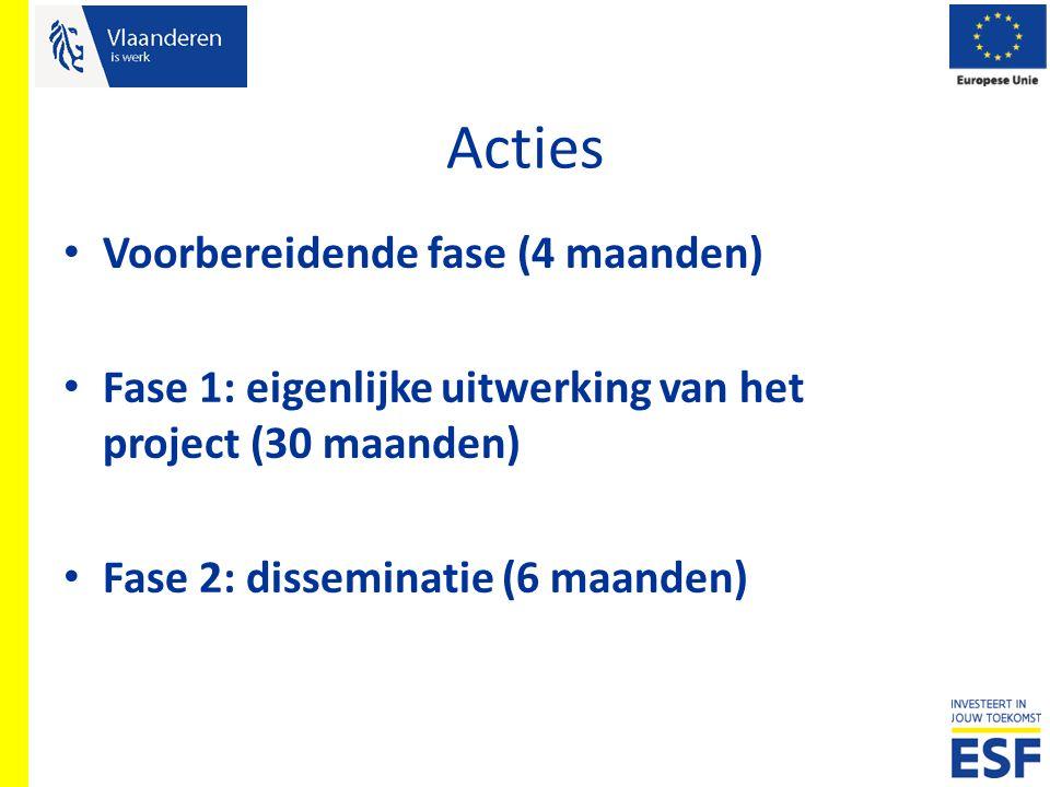 Acties Voorbereidende fase (4 maanden) Fase 1: eigenlijke uitwerking van het project (30 maanden) Fase 2: disseminatie (6 maanden)