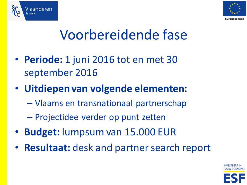 Voorbereidende fase Periode: 1 juni 2016 tot en met 30 september 2016 Uitdiepen van volgende elementen: – Vlaams en transnationaal partnerschap – Proj