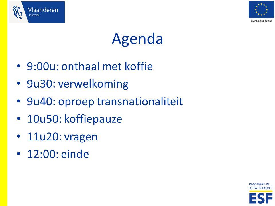 Agenda 9:00u: onthaal met koffie 9u30: verwelkoming 9u40: oproep transnationaliteit 10u50: koffiepauze 11u20: vragen 12:00: einde